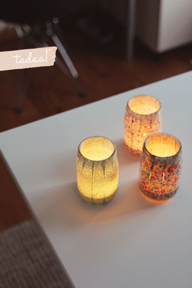 Cute DIY Mason Jar Ideas - Sweet Fabric Votives - Fun Crafts, Creative Room Decor, Homemade Gifts, Creative Home Decor Projects and DIY Mason Jar Lights - Cool Crafts for Teens and Tween Girls http://diyprojectsforteens.com/cute-diy-mason-jar-crafts