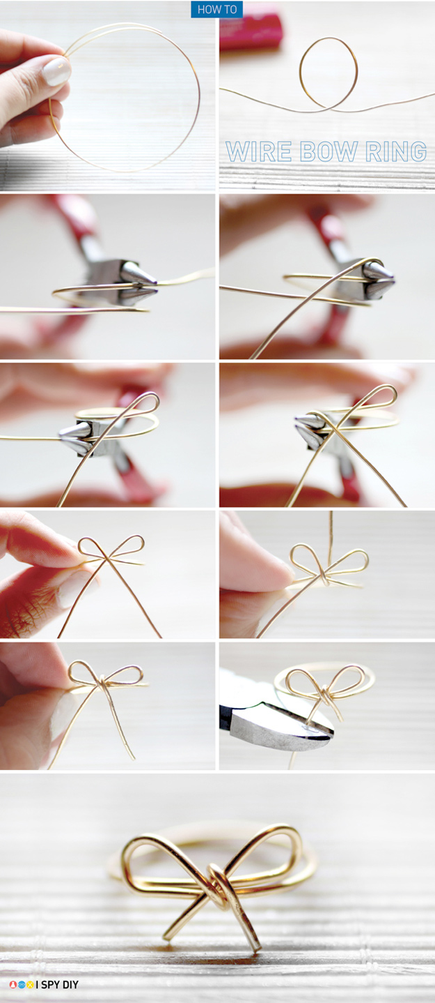 47 fun pinterest crafts that arent impossible cool diy ideas for fun and easy crafts diy wire bow ring awesome pinterest solutioingenieria Image collections
