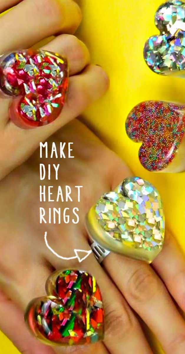Fun Crafts For Teens and Tweens - Girls Love These Cute DIY Rings Made of Casting Resin. Cool DIY Idea for Birthday Parties, Sleepovers and for Making With Friends - Step by Step Tutorial and Instructions