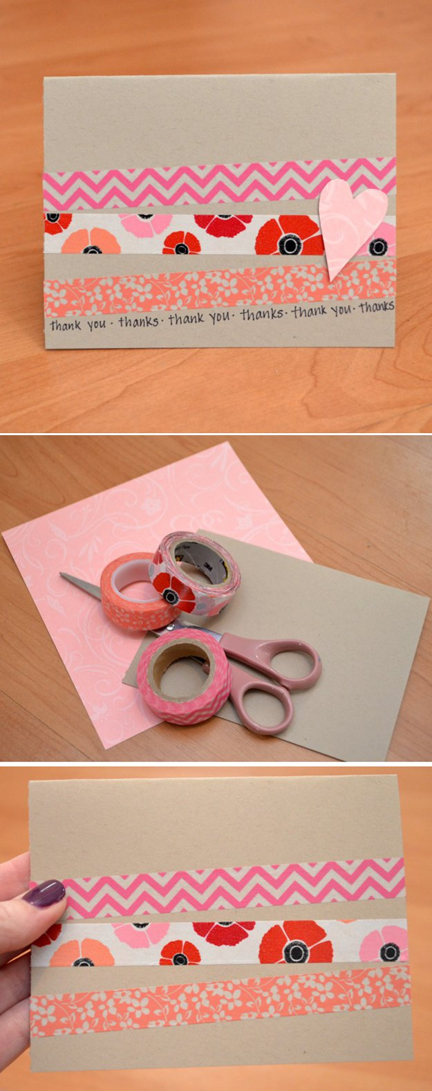 Washi Tape Crafts - Five Minute Handmade Card - Wall Art, Frames, Cards, Pencils, Room Decor and DIY Gifts, Back To School Supplies - Creative, Fun Craft Ideas for Teens, Tweens and Teenagers - Step by Step Tutorials and Instructions http://diyprojectsforteens.com/washi-tape-crafts