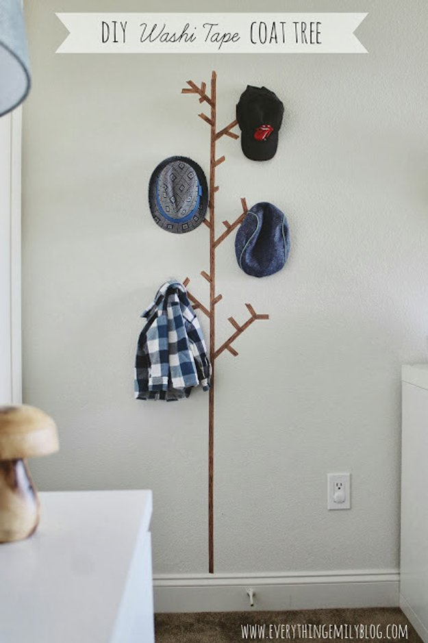Washi Tape Crafts - DIY Washi Tape Coat Tree - Wall Art, Frames, Cards, Pencils, Room Decor and DIY Gifts, Back To School Supplies - Creative, Fun Craft Ideas for Teens, Tweens and Teenagers - Step by Step Tutorials and Instructions http://diyprojectsforteens.com/washi-tape-crafts