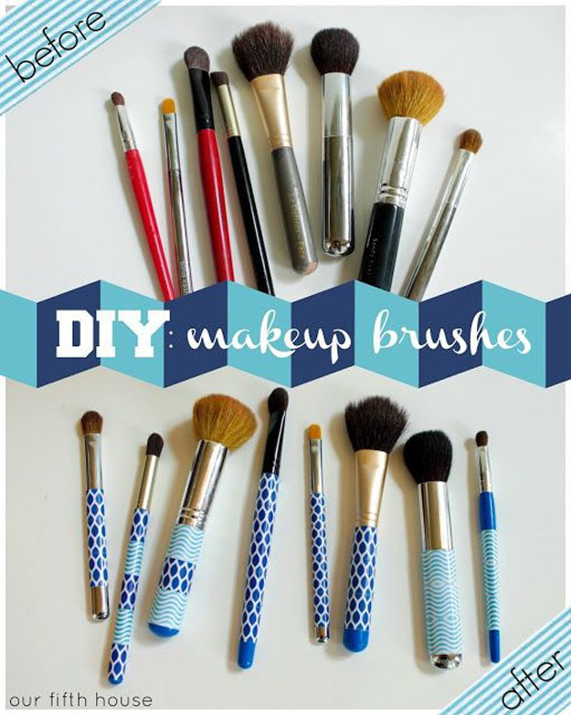 Washi Tape Crafts - Easy DIY Custom Make-up Brushes - Wall Art, Frames, Cards, Pencils, Room Decor and DIY Gifts, Back To School Supplies - Creative, Fun Craft Ideas for Teens, Tweens and Teenagers - Step by Step Tutorials and Instructions #washitape #crafts #cheapcrafts #teencrafts