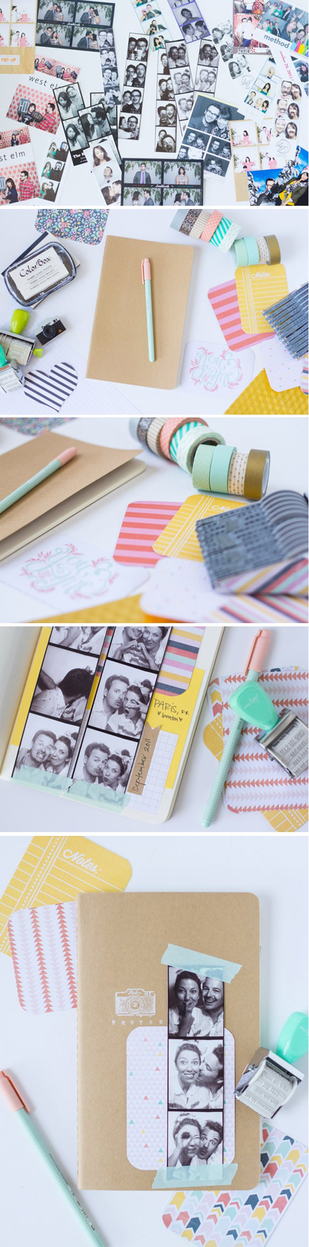 Washi Tape Crafts - DIY Photobooth Strip Scrapbook - Wall Art, Frames, Cards, Pencils, Room Decor and DIY Gifts, Back To School Supplies - Creative, Fun Craft Ideas for Teens, Tweens and Teenagers - Step by Step Tutorials and Instructions #washitape #crafts #cheapcrafts #teencrafts
