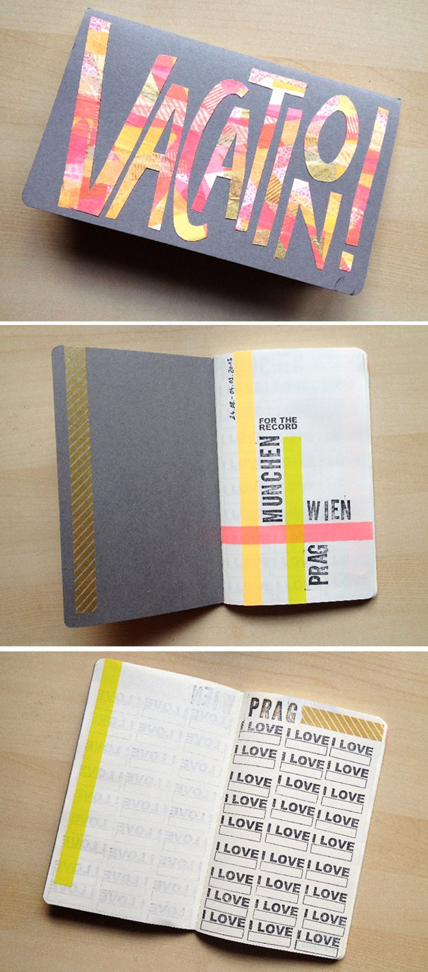 Washi Tape Crafts - DIY Travel Journal - Wall Art, Frames, Cards, Pencils, Room Decor and DIY Gifts, Back To School Supplies - Creative, Fun Craft Ideas for Teens, Tweens and Teenagers - Step by Step Tutorials and Instructions #washitape #crafts #cheapcrafts #teencrafts