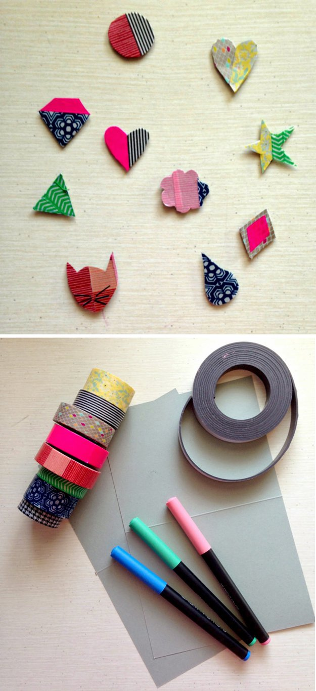 Washi Tape Crafts - DIY Washi Tape Magnets - Wall Art, Frames, Cards, Pencils, Room Decor and DIY Gifts, Back To School Supplies - Creative, Fun Craft Ideas for Teens, Tweens and Teenagers - Step by Step Tutorials and Instructions #washitape #crafts #cheapcrafts #teencrafts