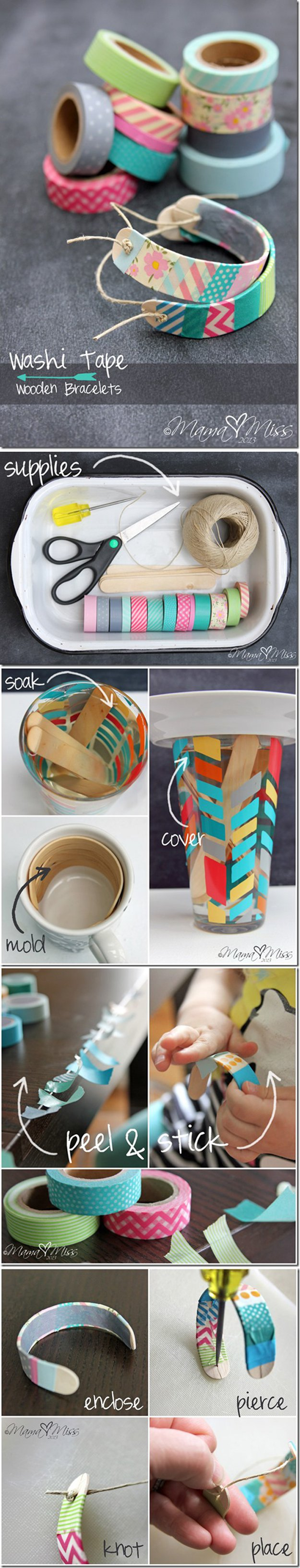 Washi Tape Crafts - DIY Washi TApe Bracelets - Wall Art, Frames, Cards, Pencils, Room Decor and DIY Gifts, Back To School Supplies - Creative, Fun Craft Ideas for Teens, Tweens and Teenagers - Step by Step Tutorials and Instructions #washitape #crafts #cheapcrafts #teencrafts