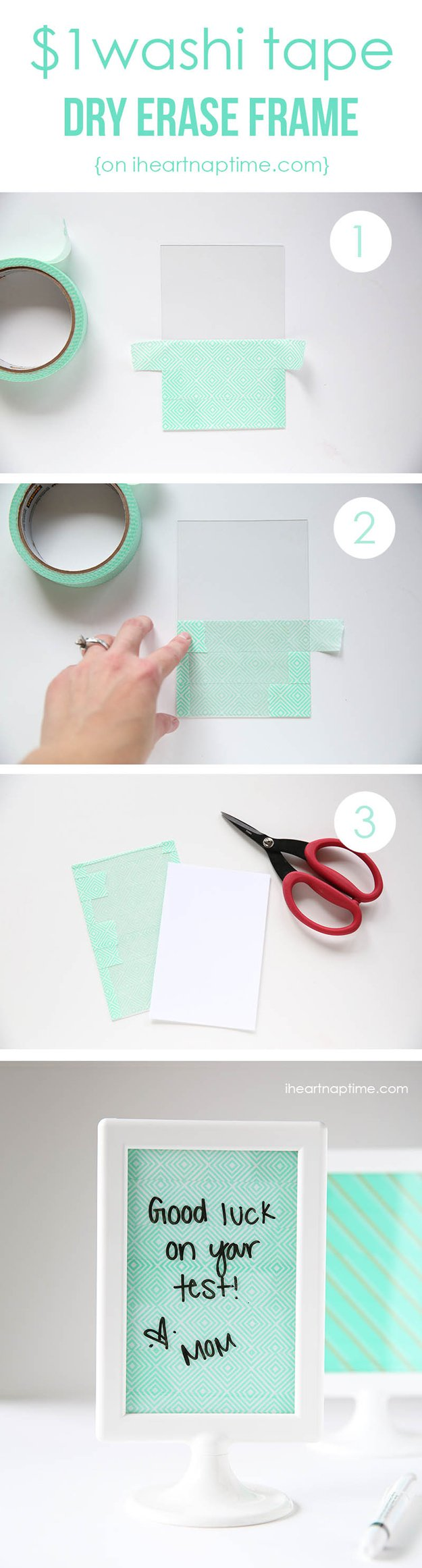 Washi Tape Crafts - Cute DIY Dry Erase Frame - Wall Art, Frames, Cards, Pencils, Room Decor and DIY Gifts, Back To School Supplies - Creative, Fun Craft Ideas for Teens, Tweens and Teenagers - Step by Step Tutorials and Instructions #washitape #crafts #cheapcrafts #teencrafts