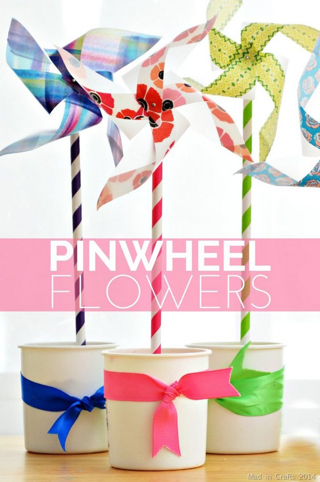 Washi Tape Crafts - Easy Pinwheel Flowers - Wall Art, Frames, Cards, Pencils, Room Decor and DIY Gifts, Back To School Supplies - Creative, Fun Craft Ideas for Teens, Tweens and Teenagers - Step by Step Tutorials and Instructions http://diyprojectsforteens.com/washi-tape-crafts