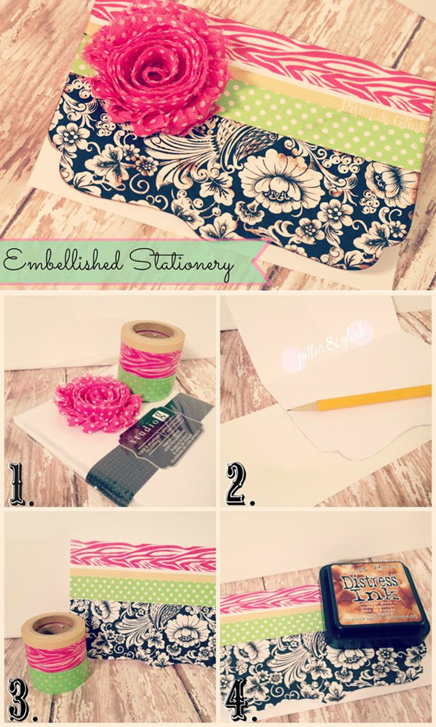 Washi Tape Crafts - Embellished Stationary - Wall Art, Frames, Cards, Pencils, Room Decor and DIY Gifts, Back To School Supplies - Creative, Fun Craft Ideas for Teens, Tweens and Teenagers - Step by Step Tutorials and Instructions #washitape #crafts #cheapcrafts #teencrafts