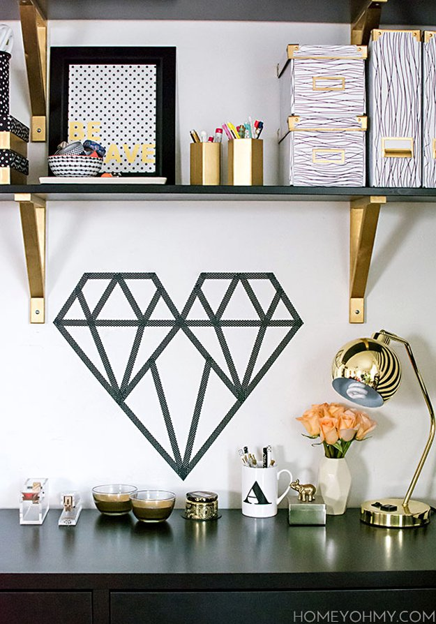 Washi Tape Crafts - DIY Washi Tape Geometric Heart - Wall Art, Frames, Cards, Pencils, Room Decor and DIY Gifts, Back To School Supplies - Creative, Fun Craft Ideas for Teens, Tweens and Teenagers - Step by Step Tutorials and Instructions #washitape #crafts #cheapcrafts #teencrafts
