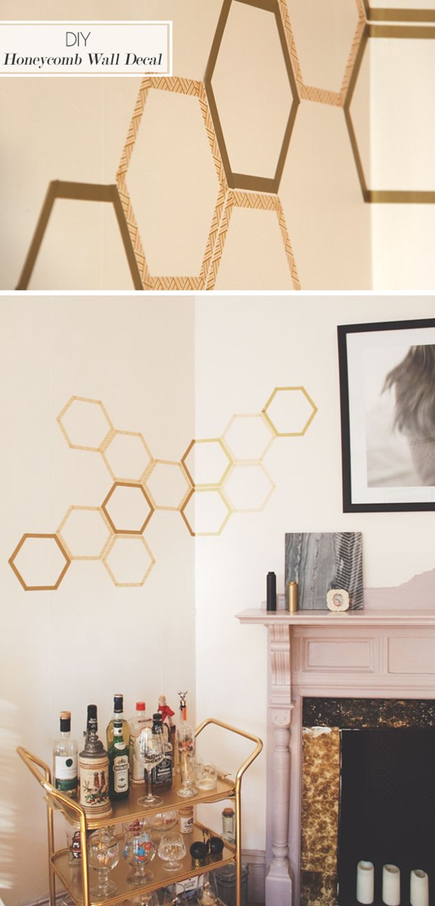 Washi Tape Crafts - DIY Honeycomb Decal - Wall Art, Frames, Cards, Pencils, Room Decor and DIY Gifts, Back To School Supplies - Creative, Fun Craft Ideas for Teens, Tweens and Teenagers - Step by Step Tutorials and Instructions #washitape #crafts #cheapcrafts #teencrafts