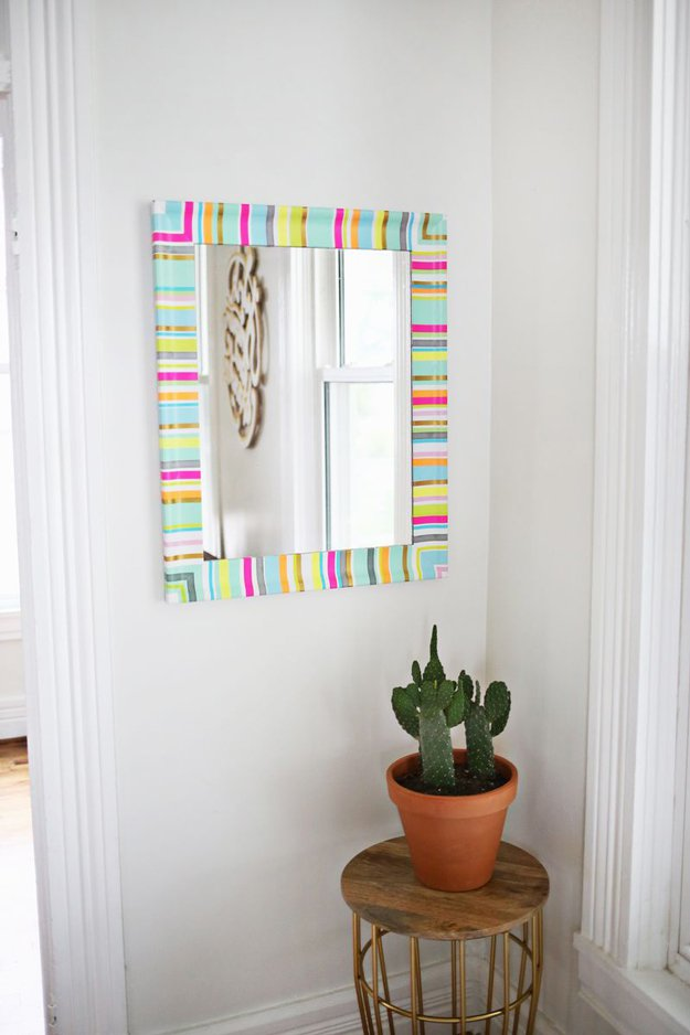 Washi Tape Crafts - DIY Washi Tape Mirror Frame - Wall Art, Frames, Cards, Pencils, Room Decor and DIY Gifts, Back To School Supplies - Creative, Fun Craft Ideas for Teens, Tweens and Teenagers - Step by Step Tutorials and Instructions #washitape #crafts #cheapcrafts #teencrafts