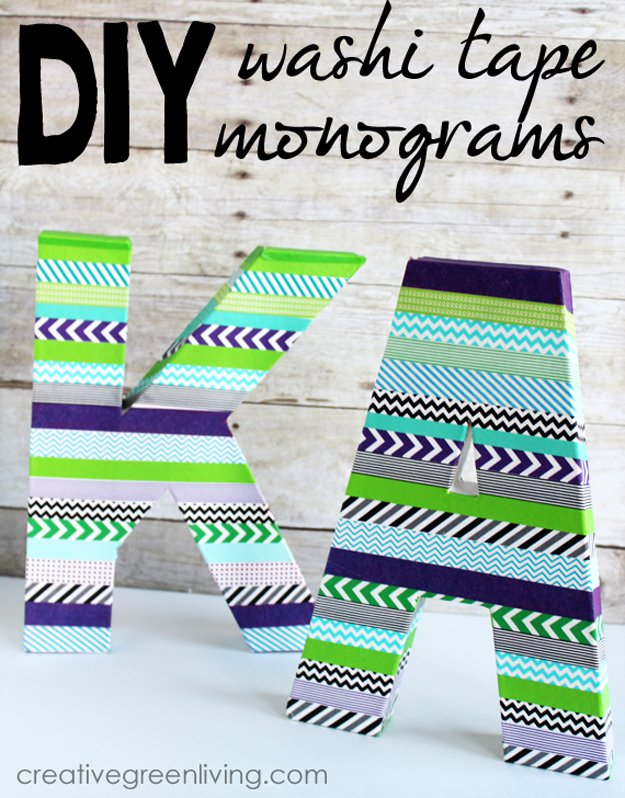 Washi Tape Crafts - How to Make Washi Tape Monograms - Wall Art, Frames, Cards, Pencils, Room Decor and DIY Gifts, Back To School Supplies - Creative, Fun Craft Ideas for Teens, Tweens and Teenagers - Step by Step Tutorials and Instructions #washitape #crafts #cheapcrafts #teencrafts