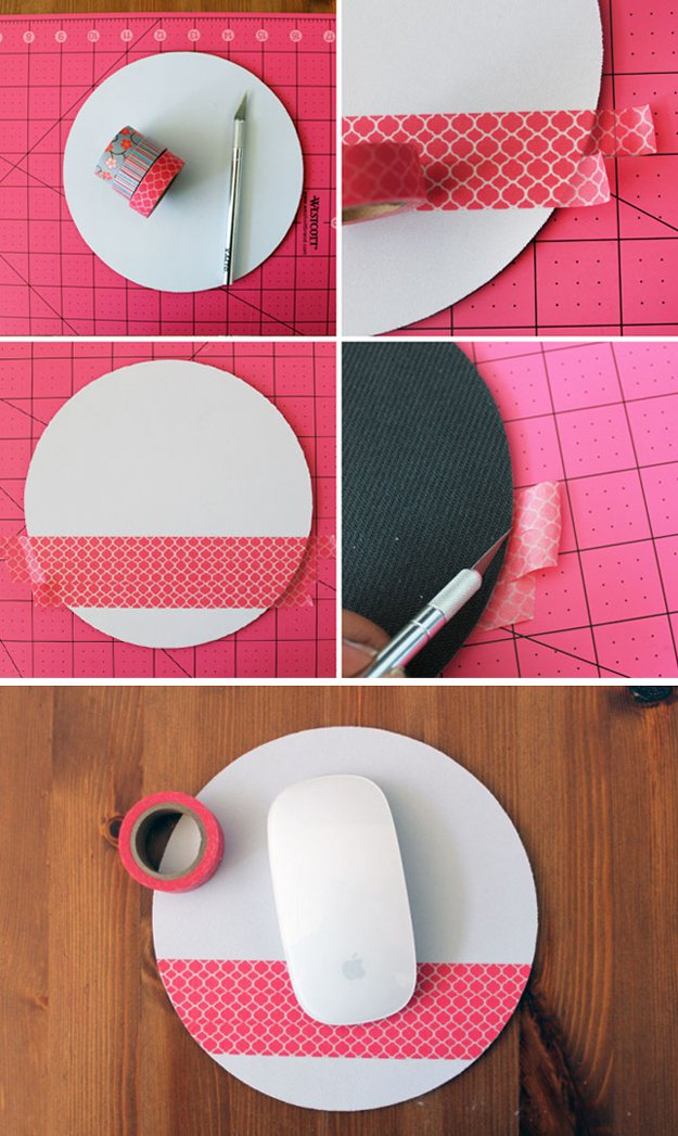 Washi Tape Crafts - DIY Washi Tape Mousepad - Wall Art, Frames, Cards, Pencils, Room Decor and DIY Gifts, Back To School Supplies - Creative, Fun Craft Ideas for Teens, Tweens and Teenagers - Step by Step Tutorials and Instructions http://diyprojectsforteens.com/washi-tape-crafts
