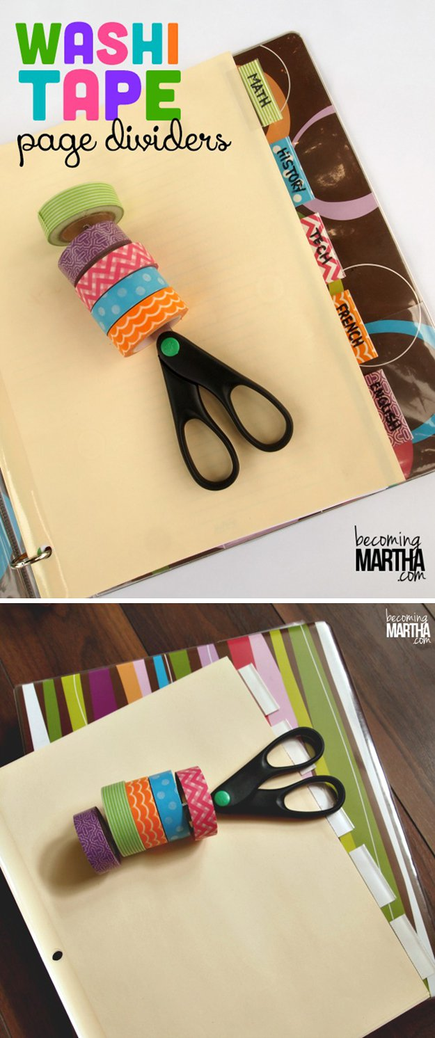 Washi Tape Crafts - Washi Tape Page Dividers - Wall Art, Frames, Cards, Pencils, Room Decor and DIY Gifts, Back To School Supplies - Creative, Fun Craft Ideas for Teens, Tweens and Teenagers - Step by Step Tutorials and Instructions http://diyprojectsforteens.com/washi-tape-crafts
