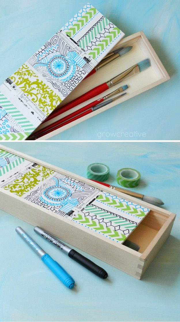 Washi Tape Crafts - Pretty Paintbrush Box - Wall Art, Frames, Cards, Pencils, Room Decor and DIY Gifts, Back To School Supplies - Creative, Fun Craft Ideas for Teens, Tweens and Teenagers - Step by Step Tutorials and Instructions #washitape #crafts #cheapcrafts #teencrafts