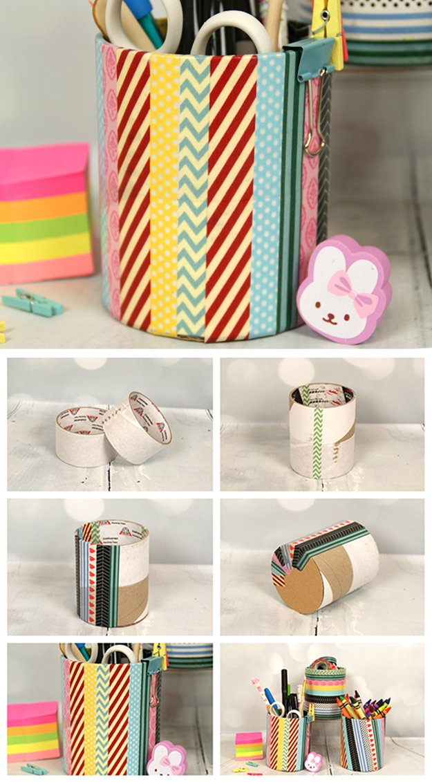 Washi Tape Crafts - Washi Tape Pencil Holder - Wall Art, Frames, Cards, Pencils, Room Decor and DIY Gifts, Back To School Supplies - Creative, Fun Craft Ideas for Teens, Tweens and Teenagers - Step by Step Tutorials and Instructions #washitape #crafts #cheapcrafts #teencrafts
