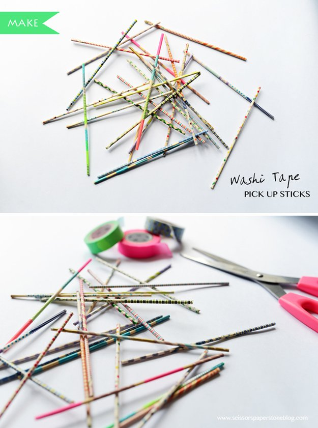 Washi Tape Crafts - DIY Washi Tape Pick-up Sticks - Wall Art, Frames, Cards, Pencils, Room Decor and DIY Gifts, Back To School Supplies - Creative, Fun Craft Ideas for Teens, Tweens and Teenagers - Step by Step Tutorials and Instructions http://diyprojectsforteens.com/washi-tape-crafts