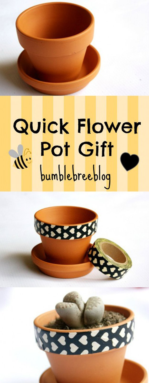 Washi Tape Crafts - DIY Quick Flower Pot Gift - Wall Art, Frames, Cards, Pencils, Room Decor and DIY Gifts, Back To School Supplies - Creative, Fun Craft Ideas for Teens, Tweens and Teenagers - Step by Step Tutorials and Instructions http://diyprojectsforteens.com/washi-tape-crafts