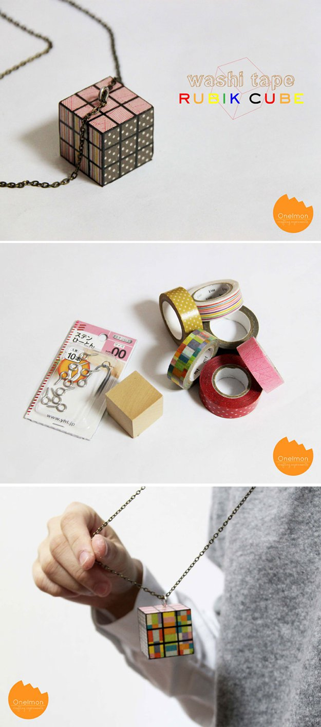 Washi Tape Crafts - DIY Washi Tape Rubik Cube Necklace - Wall Art, Frames, Cards, Pencils, Room Decor and DIY Gifts, Back To School Supplies - Creative, Fun Craft Ideas for Teens, Tweens and Teenagers - Step by Step Tutorials and Instructions http://diyprojectsforteens.com/washi-tape-crafts