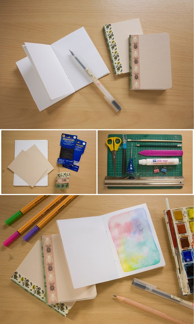 Washi Tape Crafts - Simple Bookbinding Notebook DIY - Wall Art, Frames, Cards, Pencils, Room Decor and DIY Gifts, Back To School Supplies - Creative, Fun Craft Ideas for Teens, Tweens and Teenagers - Step by Step Tutorials and Instructions http://diyprojectsforteens.com/washi-tape-crafts