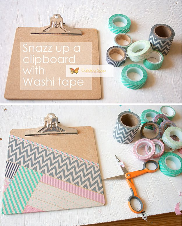 Washi Tape Crafts - DIY Washi Tape Clipboard - Wall Art, Frames, Cards, Pencils, Room Decor and DIY Gifts, Back To School Supplies - Creative, Fun Craft Ideas for Teens, Tweens and Teenagers - Step by Step Tutorials and Instructions #washitape #crafts #cheapcrafts #teencrafts