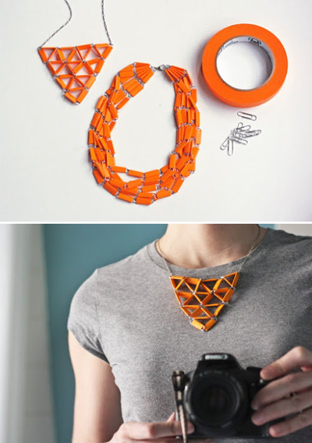 Washi Tape Crafts - DIY Washi Tape Statement Necklace - Wall Art, Frames, Cards, Pencils, Room Decor and DIY Gifts, Back To School Supplies - Creative, Fun Craft Ideas for Teens, Tweens and Teenagers - Step by Step Tutorials and Instructions #washitape #crafts #cheapcrafts #teencrafts