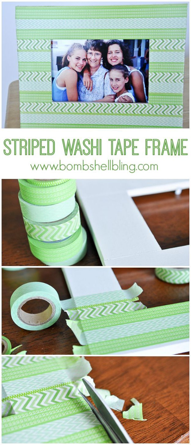 Washi Tape Crafts - Striped Washi Tape Frame Tutorial - Wall Art, Frames, Cards, Pencils, Room Decor and DIY Gifts, Back To School Supplies - Creative, Fun Craft Ideas for Teens, Tweens and Teenagers - Step by Step Tutorials and Instructions http://diyprojectsforteens.com/washi-tape-crafts