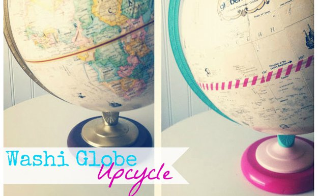 Washi Tape Crafts - A Washi Globe Upcycle - Wall Art, Frames, Cards, Pencils, Room Decor and DIY Gifts, Back To School Supplies - Creative, Fun Craft Ideas for Teens, Tweens and Teenagers - Step by Step Tutorials and Instructions http://diyprojectsforteens.com/washi-tape-crafts
