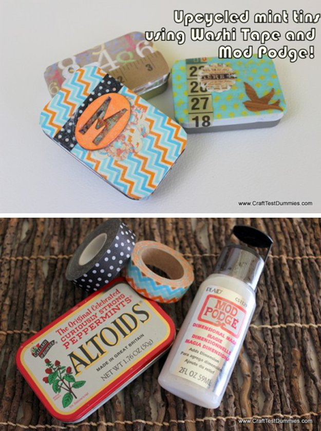 Washi Tape Crafts - Upcycled Mint Tins - Wall Art, Frames, Cards, Pencils, Room Decor and DIY Gifts, Back To School Supplies - Creative, Fun Craft Ideas for Teens, Tweens and Teenagers - Step by Step Tutorials and Instructions #washitape #crafts #cheapcrafts #teencrafts