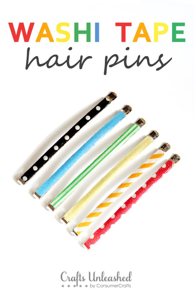 Washi Tape Crafts - Washi Tape Hair Pins - Wall Art, Frames, Cards, Pencils, Room Decor and DIY Gifts, Back To School Supplies - Creative, Fun Craft Ideas for Teens, Tweens and Teenagers - Step by Step Tutorials and Instructions #washitape #crafts #cheapcrafts #teencrafts