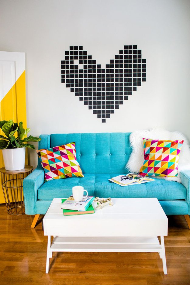 Washi Tape Crafts - Washi Tape Heart Wall Decor - Wall Art, Frames, Cards, Pencils, Room Decor and DIY Gifts, Back To School Supplies - Creative, Fun Craft Ideas for Teens, Tweens and Teenagers - Step by Step Tutorials and Instructions #washitape #crafts #cheapcrafts #teencrafts