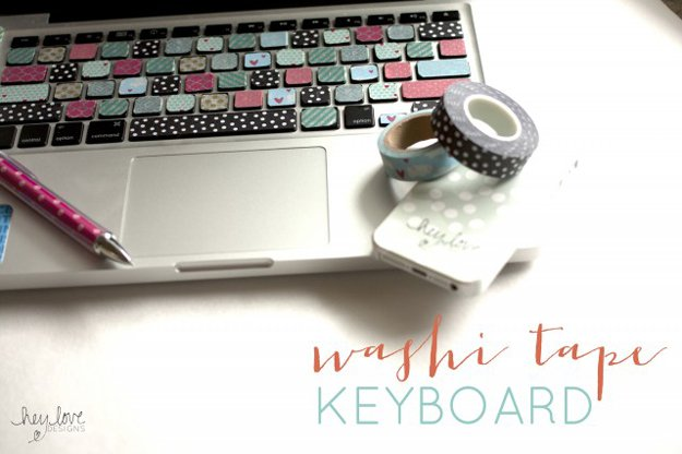 Washi Tape Crafts - Washi Tape Keyboard - Wall Art, Frames, Cards, Pencils, Room Decor and DIY Gifts, Back To School Supplies - Creative, Fun Craft Ideas for Teens, Tweens and Teenagers - Step by Step Tutorials and Instructions http://diyprojectsforteens.com/washi-tape-crafts