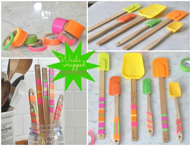 Washi Tape Crafts - Washi Tape Wrapped Spatulas - Wall Art, Frames, Cards, Pencils, Room Decor and DIY Gifts, Back To School Supplies - Creative, Fun Craft Ideas for Teens, Tweens and Teenagers - Step by Step Tutorials and Instructions http://diyprojectsforteens.com/washi-tape-crafts