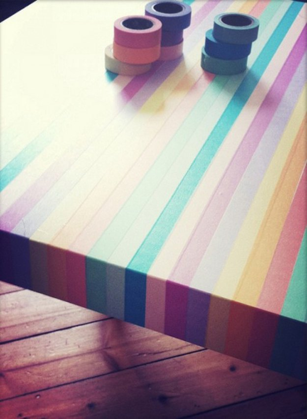 Washi Tape Crafts - Washi Tape Table - Wall Art, Frames, Cards, Pencils, Room Decor and DIY Gifts, Back To School Supplies - Creative, Fun Craft Ideas for Teens, Tweens and Teenagers - Step by Step Tutorials and Instructions #washitape #crafts #cheapcrafts #teencrafts