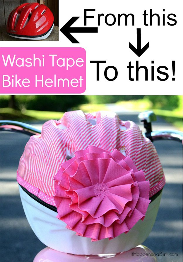 Washi Tape Crafts - Washi Tape Bicycle Helmet - Wall Art, Frames, Cards, Pencils, Room Decor and DIY Gifts, Back To School Supplies - Creative, Fun Craft Ideas for Teens, Tweens and Teenagers - Step by Step Tutorials and Instructions #washitape #crafts #cheapcrafts #teencrafts