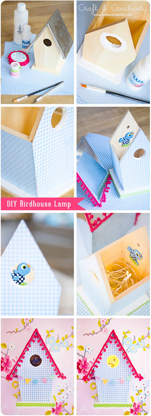 Washi Tape Crafts - DIY Birdhouse Lamp - Wall Art, Frames, Cards, Pencils, Room Decor and DIY Gifts, Back To School Supplies - Creative, Fun Craft Ideas for Teens, Tweens and Teenagers - Step by Step Tutorials and Instructions http://diyprojectsforteens.com/washi-tape-crafts