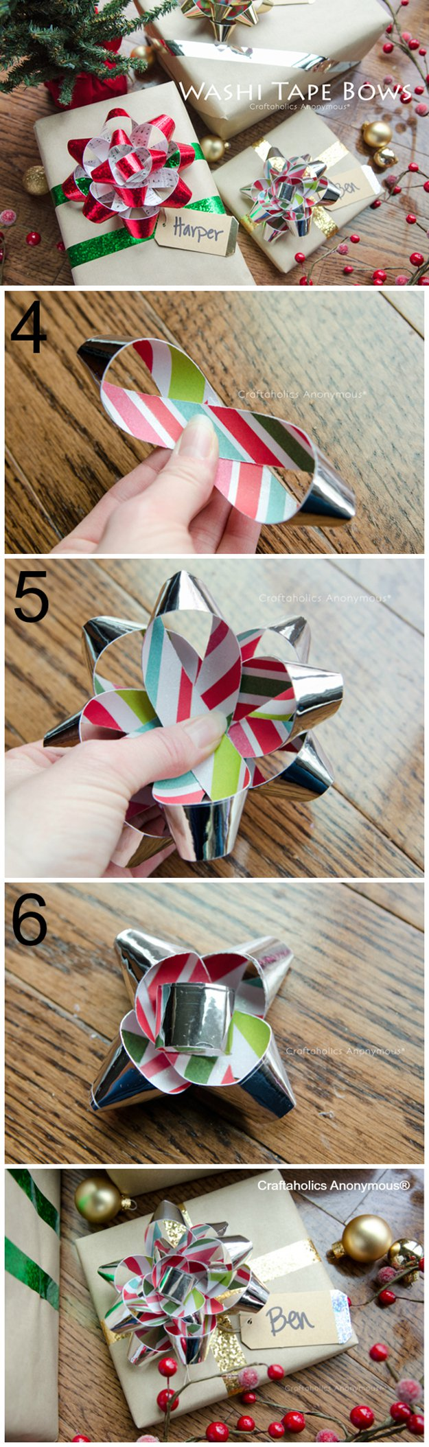 Washi Tape Crafts - Washi Tape Gift Bows Tutorial - Wall Art, Frames, Cards, Pencils, Room Decor and DIY Gifts, Back To School Supplies - Creative, Fun Craft Ideas for Teens, Tweens and Teenagers - Step by Step Tutorials and Instructions #washitape #crafts #cheapcrafts #teencrafts