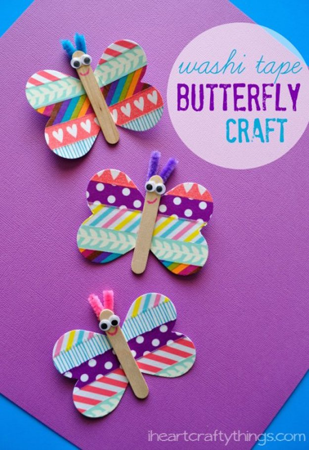 Washi Tape Crafts - Butterfly Washi Tape Craft - Wall Art, Frames, Cards, Pencils, Room Decor and DIY Gifts, Back To School Supplies - Creative, Fun Craft Ideas for Teens, Tweens and Teenagers - Step by Step Tutorials and Instructions #washitape #crafts #cheapcrafts #teencrafts