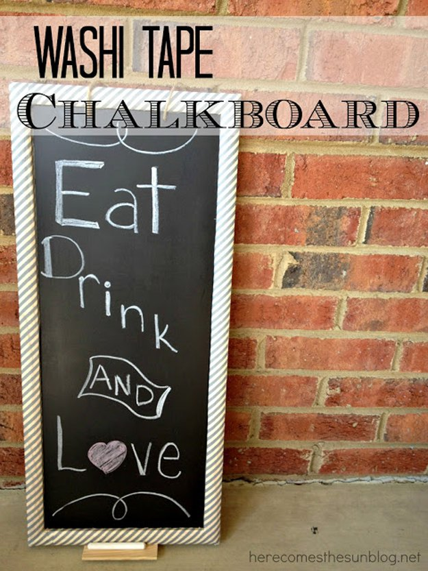 Washi Tape Crafts - Washi Tape Chalk Board - Wall Art, Frames, Cards, Pencils, Room Decor and DIY Gifts, Back To School Supplies - Creative, Fun Craft Ideas for Teens, Tweens and Teenagers - Step by Step Tutorials and Instructions #washitape #crafts #cheapcrafts #teencrafts