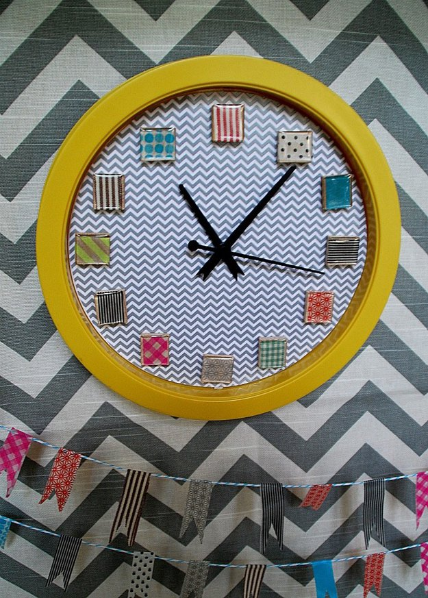 Washi Tape Crafts - Washi Tape Clock Tutorial - Wall Art, Frames, Cards, Pencils, Room Decor and DIY Gifts, Back To School Supplies - Creative, Fun Craft Ideas for Teens, Tweens and Teenagers - Step by Step Tutorials and Instructions #washitape #crafts #cheapcrafts #teencrafts
