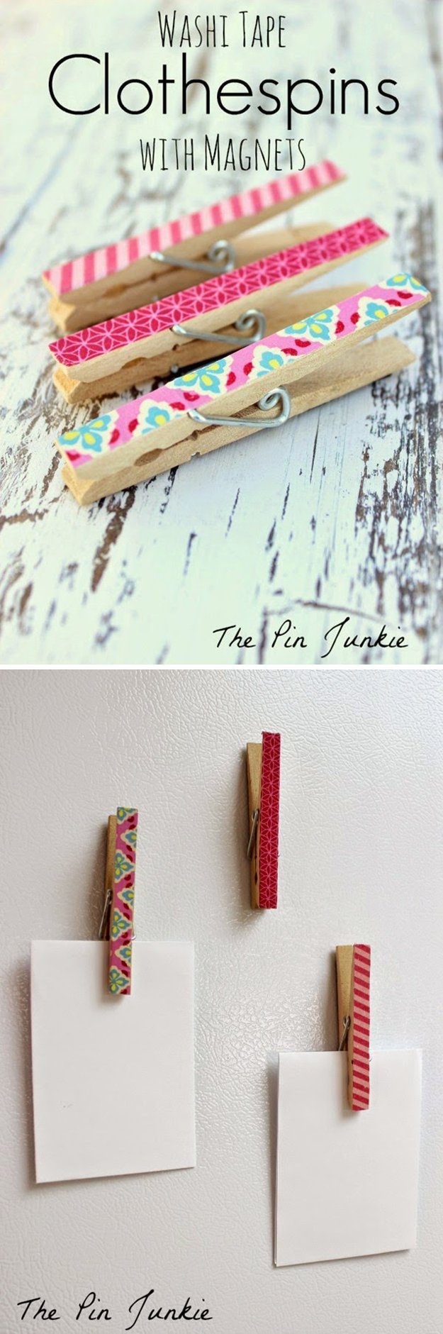 Washi Tape Crafts - Washi Tape Clothespins with Magnets - Wall Art, Frames, Cards, Pencils, Room Decor and DIY Gifts, Back To School Supplies - Creative, Fun Craft Ideas for Teens, Tweens and Teenagers - Step by Step Tutorials and Instructions #washitape #crafts #cheapcrafts #teencrafts