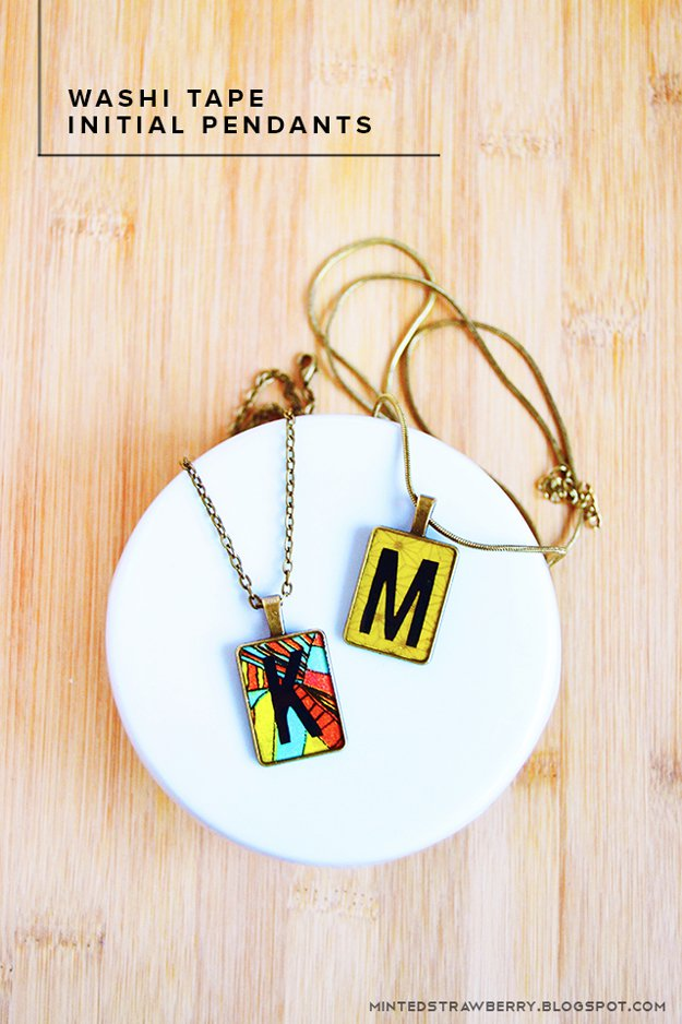 Washi Tape Crafts - DIY Washi Tape Initial Necklace - Wall Art, Frames, Cards, Pencils, Room Decor and DIY Gifts, Back To School Supplies - Creative, Fun Craft Ideas for Teens, Tweens and Teenagers - Step by Step Tutorials and Instructions #washitape #crafts #cheapcrafts #teencrafts