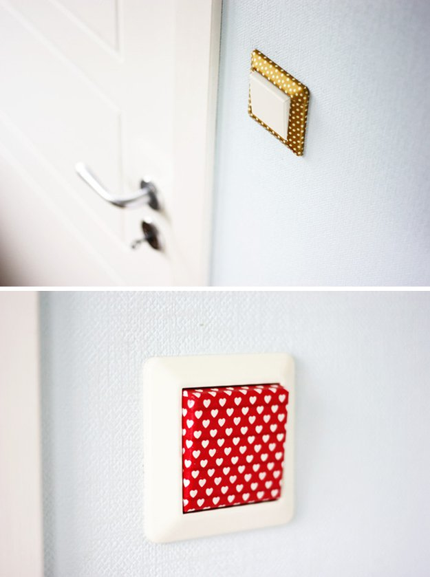 Washi Tape Crafts - Washi Tape Light Switch - Wall Art, Frames, Cards, Pencils, Room Decor and DIY Gifts, Back To School Supplies - Creative, Fun Craft Ideas for Teens, Tweens and Teenagers - Step by Step Tutorials and Instructions #washitape #crafts #cheapcrafts #teencrafts