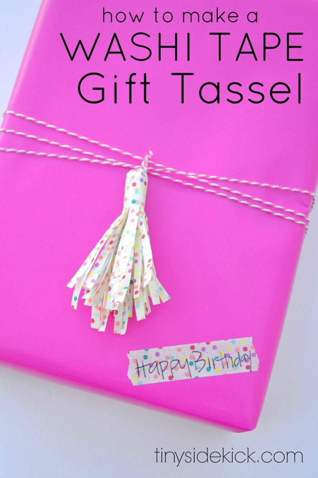 Washi Tape Crafts - DIY Washi Tape Gift Tassel - Wall Art, Frames, Cards, Pencils, Room Decor and DIY Gifts, Back To School Supplies - Creative, Fun Craft Ideas for Teens, Tweens and Teenagers - Step by Step Tutorials and Instructions http://diyprojectsforteens.com/washi-tape-crafts