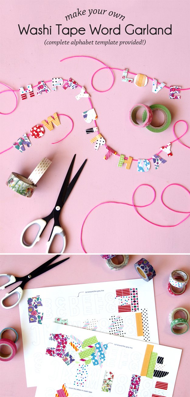 Washi Tape Crafts - Washi Tape Word Garland - Wall Art, Frames, Cards, Pencils, Room Decor and DIY Gifts, Back To School Supplies - Creative, Fun Craft Ideas for Teens, Tweens and Teenagers - Step by Step Tutorials and Instructions #washitape #crafts #cheapcrafts #teencrafts
