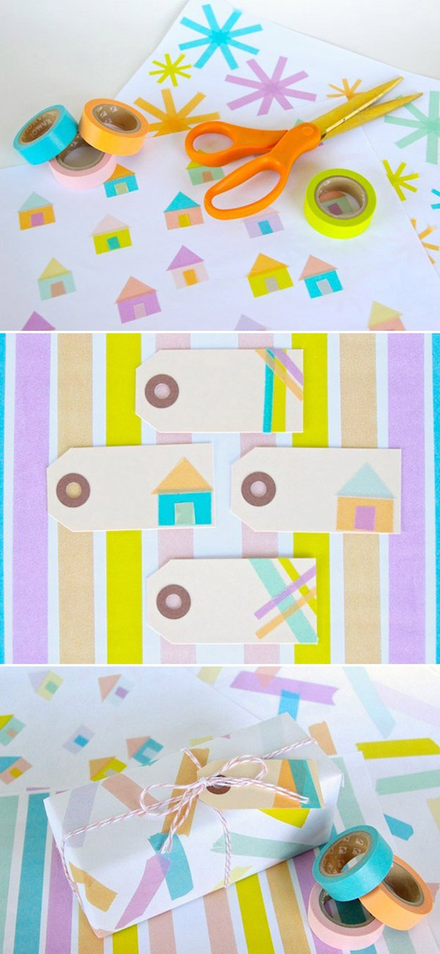 Washi Tape Crafts - DIY: Washi Tape Wrapping Paper - Wall Art, Frames, Cards, Pencils, Room Decor and DIY Gifts, Back To School Supplies - Creative, Fun Craft Ideas for Teens, Tweens and Teenagers - Step by Step Tutorials and Instructions http://diyprojectsforteens.com/washi-tape-crafts