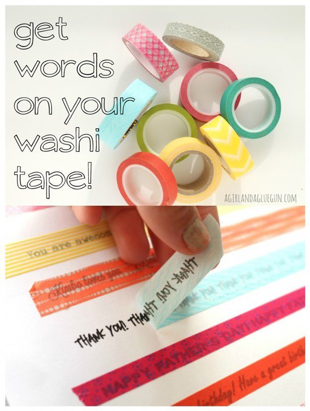 Washi Tape Crafts - Words on Your Washi Tape - Wall Art, Frames, Cards, Pencils, Room Decor and DIY Gifts, Back To School Supplies - Creative, Fun Craft Ideas for Teens, Tweens and Teenagers - Step by Step Tutorials and Instructions http://diyprojectsforteens.com/washi-tape-crafts