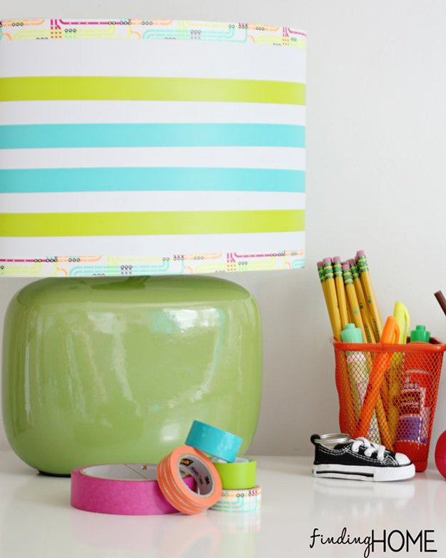 Washi Tape Crafts - DIY Washi Tape Lamp - Wall Art, Frames, Cards, Pencils, Room Decor and DIY Gifts, Back To School Supplies - Creative, Fun Craft Ideas for Teens, Tweens and Teenagers - Step by Step Tutorials and Instructions http://diyprojectsforteens.com/washi-tape-crafts