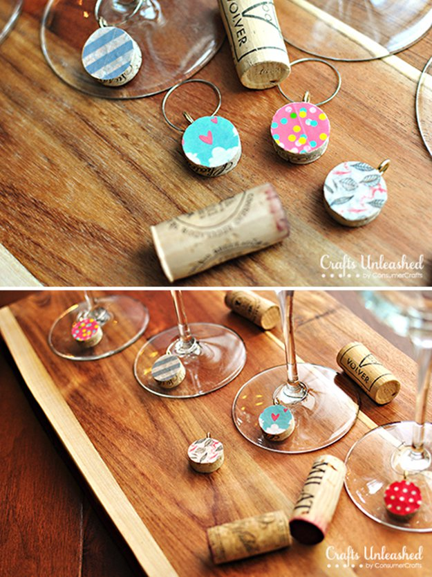 Washi Tape Crafts - Washi Tape Wine Charms - Wall Art, Frames, Cards, Pencils, Room Decor and DIY Gifts, Back To School Supplies - Creative, Fun Craft Ideas for Teens, Tweens and Teenagers - Step by Step Tutorials and Instructions #washitape #crafts #cheapcrafts #teencrafts